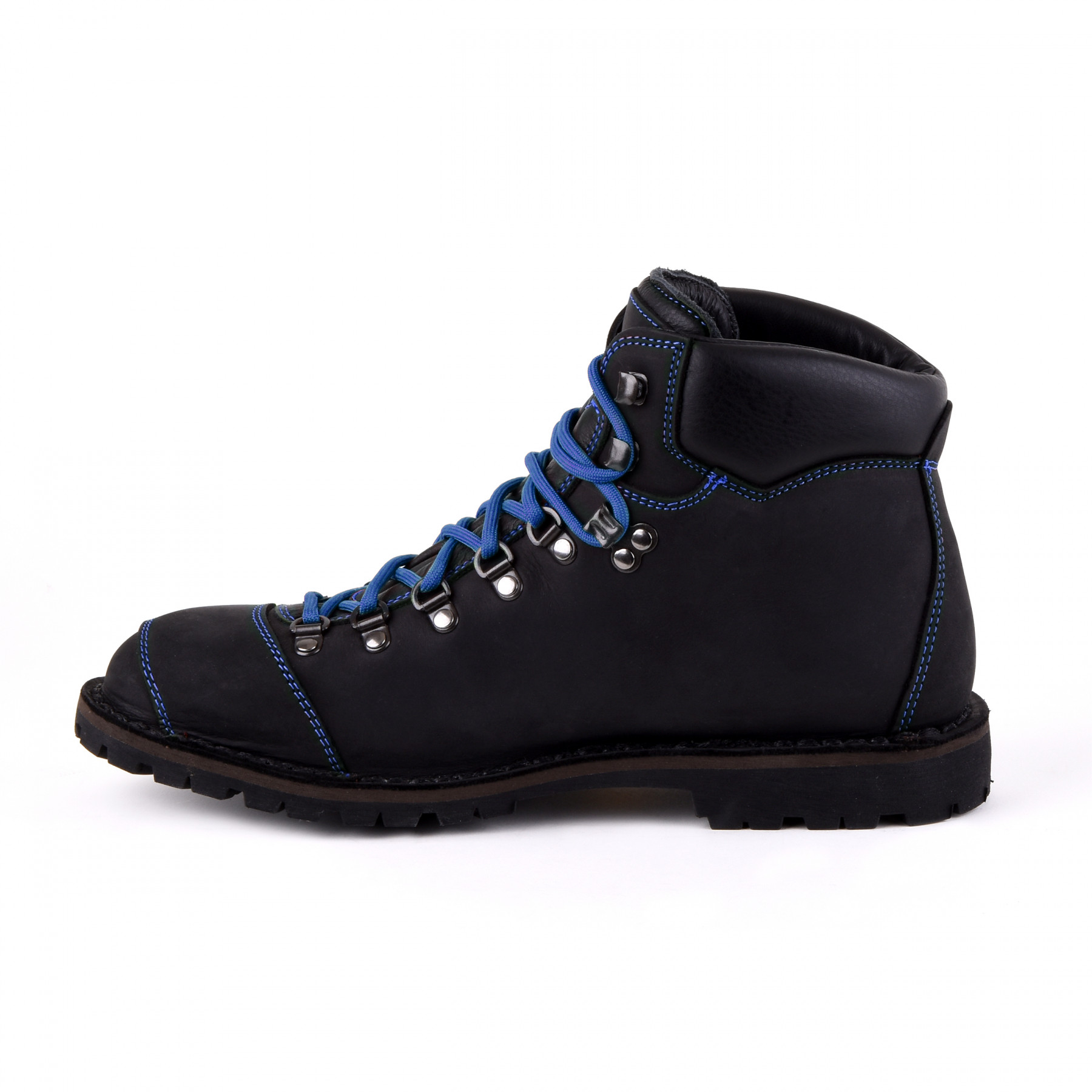 Biker Boot Adventure Denver Black, black ladies boot, blue stitching