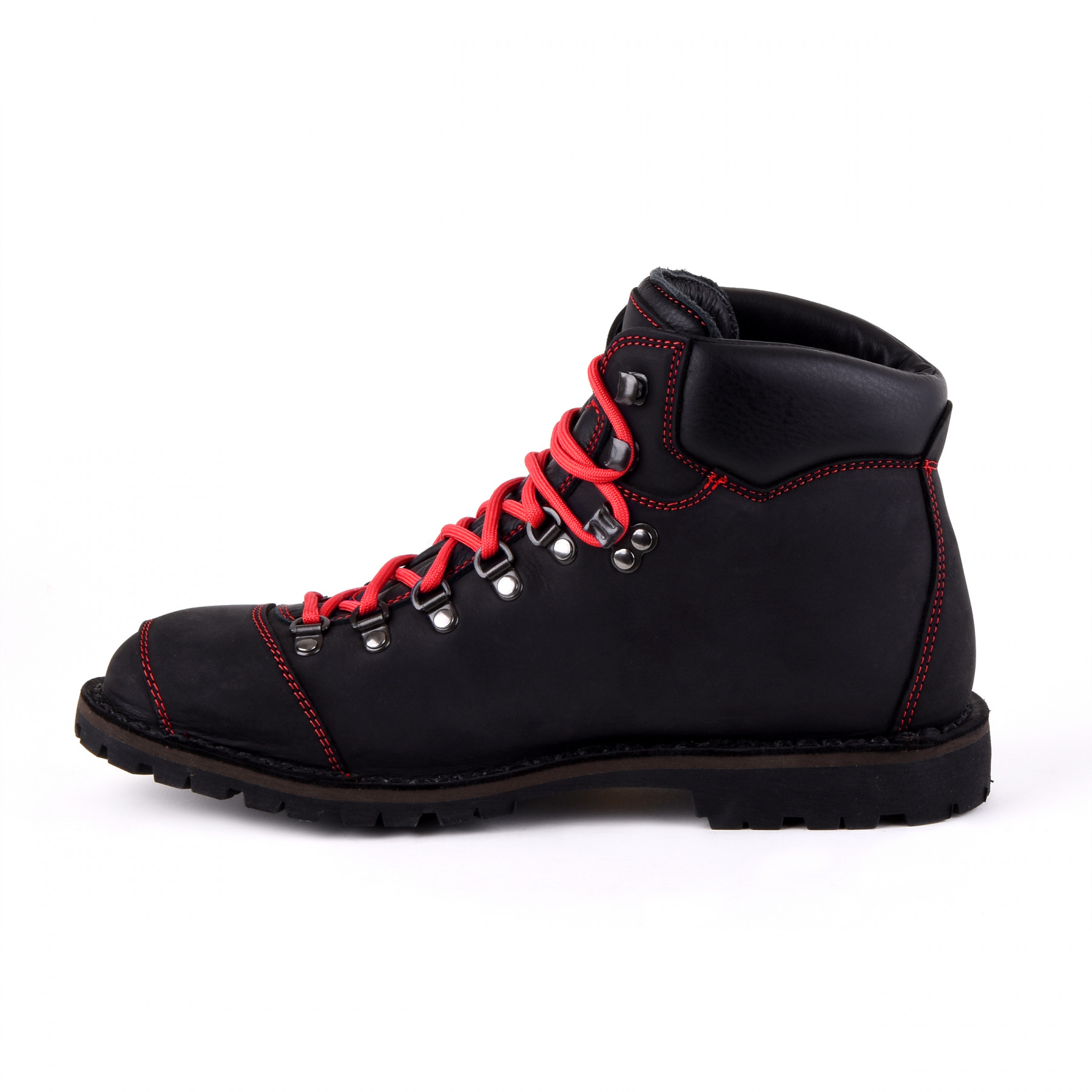 Biker Boot Adventure Denver Black, black ladies boot, red stitching