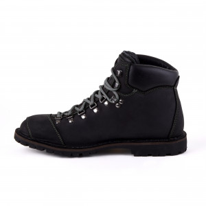 Biker Boot Adventure Denver Black, black ladies boot, grey stitching