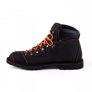 Biker Boot Adventure Denver Black, black ladies boot, orange stitching