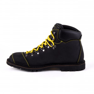 Biker Boot Adventure Denver Black, black gents boot, yellow stitching